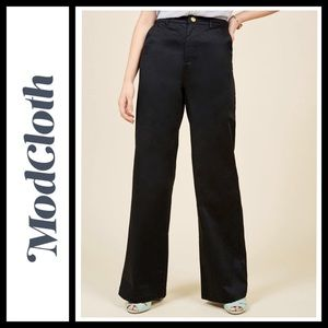 ModCloth You Name the Place Wide Black Pants NWOT